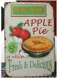 (Vintage Tin Plate Signs Home Made Apple Pie Wall Decor House Cafe Shop Painting)