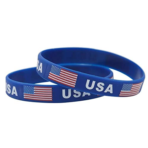 Astra Gourmet 12pcs American Flag Bracelets Patriotic Silicone Wristband - Ideal Party Favors for Fourth of July Parades, 4th of July Parties, BBQ