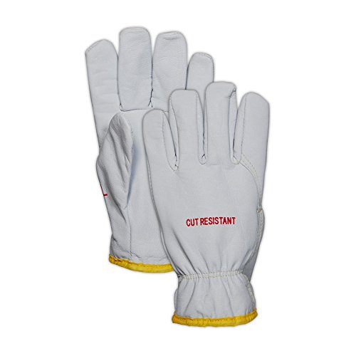 Magid Glove & Safety 2443DEXKS-XXXL Magid Cut Master XKS 2443DEXKS XKS Lined Goat Grain Leather Drivers Glove - Cut Level 4, 11, White , 3XL (Pack of 12) by Magid Glove & Safety