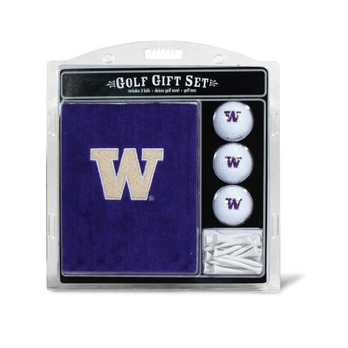 Team Golf NCAA Washington Huskies Gift Set Embroidered Golf Towel, 3 Golf Balls, and 14 Golf Tees 2-3/4