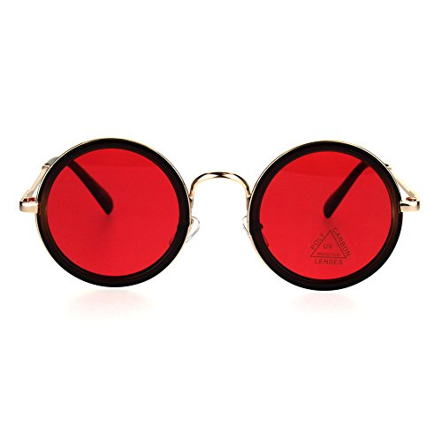 Mens Round Circle Lens Victorian Vampire Hippie Sunglasses Black Gold (Vampire Sunglasses)