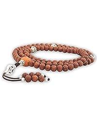 Hands Of Tibet Raktu Mala 108 Beads Necklace, Natural Himalaya Raktu Seed Prayer Mala Wrist Mala Wrap Bracelet Healing for Meditation