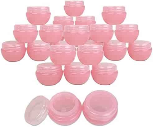 Beauticom 24 Pieces 10G/10ML Pink Frosted Container Jars with Inner Liner for Lotion, Toners, Lip Balms, Makeup Samples - BPA Free