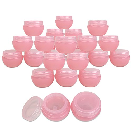 Beauticom 24 Pieces 10G/10ML Pink Frosted Container Jars wit