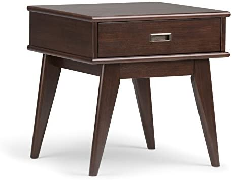 Simpli Home 3AXCDRP-02 Draper Solid Hardwood 22 inch Wide Rectangle Mid Century Modern End Table in Medium Auburn Brown