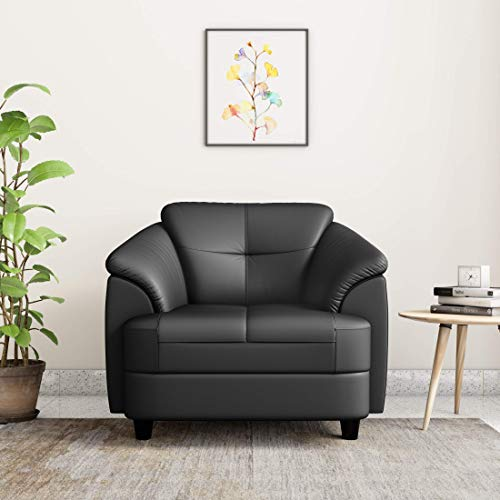 Amazon Brand   Solimo Newport Leatherette 1 Seater Sofa  Black