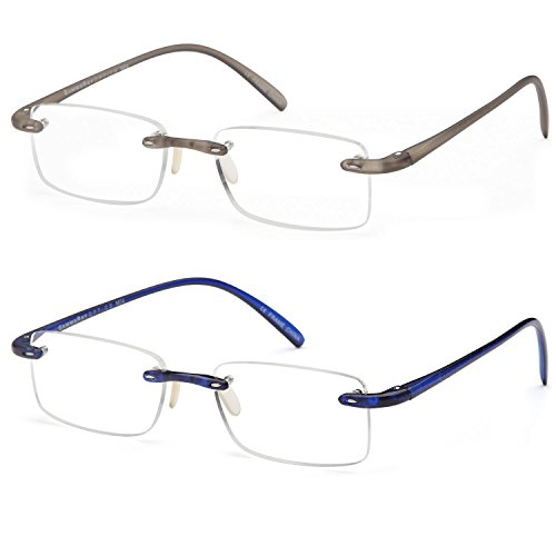 GAMMA RAY 2 Pack of Super Lightweight Flex Arm Slim Rimless Readers with 2.00x - 2 Ray The
