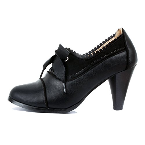 Heel Shoes Lace Embroidery Pumps Black Guilty Tone Retro Oxford Womens Kitten Wing Classic Two Tip Up 7BxwqdxSf