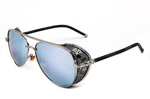 Unisex STY1506 Cross Detail Side Shield Metal Aviator 52mm Sunglasses (C4-silver+blue, ()