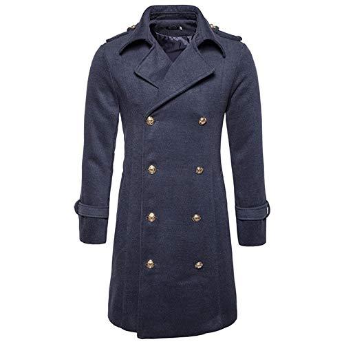 (Most Fashion! Men's Woolen Jackets,Sunyastor Premium Wool Blend Double Breasted Long Pea Coat Slim Button Lapel Parka)