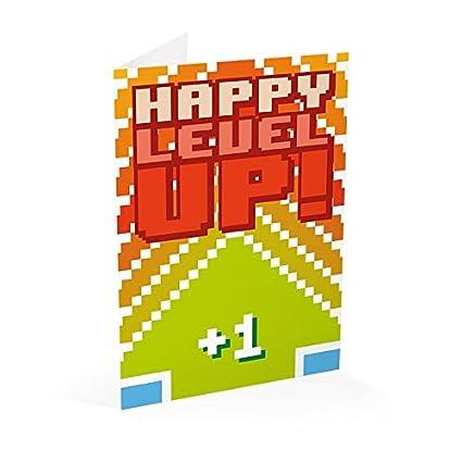 Grupo Erik Editores Tarjeta Felicitacion Gamer Happy Level Up