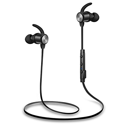 Bluetooth Headphones, Wireless Headphones, TOTU Sweatproof High Fidelity Stereo Bluetooth Earbuds Lightweight and Noise Canceling Wireless Earbuds Fit for Workout with Built-in Magnet by TOTU