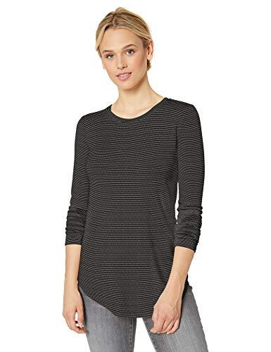 Amazon Brand - Daily Ritual Women's Supersoft Terry Long-Sleeve Shirt with Shirttail Hem, Black/White Stripe, Medium