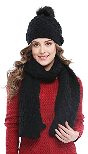Bellady Women's Knitted Double Layers Beanie Cap with Pom Pom, Scarf Two Peice Set,Black ()