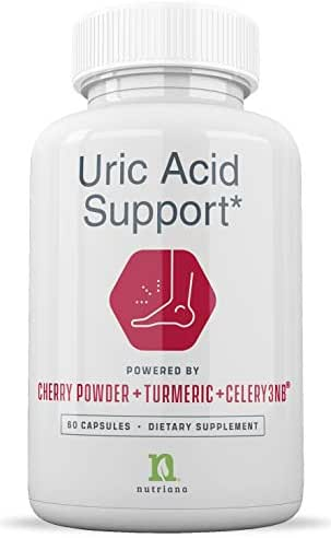 Uric Acid Cleanse Support Tart Cherry Capsules – Tart Cherry Juice Extract 2500 mg with Turmeric and Celery Seed Extract for Joint and Kidney Support – 60 Tart Cherry Concentrate Capsules