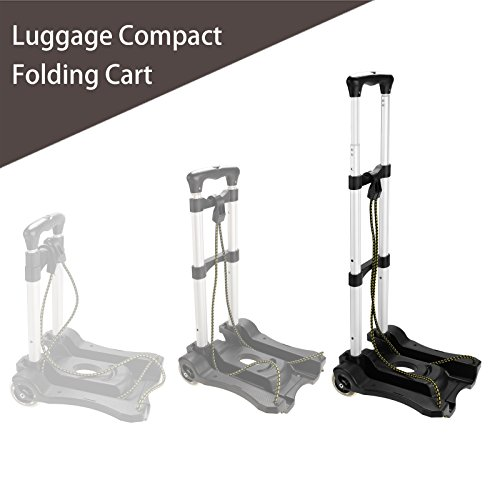 Luggage Cart Folding Portable Hand Truck Aluminum Dolly with wheels (US Stock) (77 lbs Capacity) ()