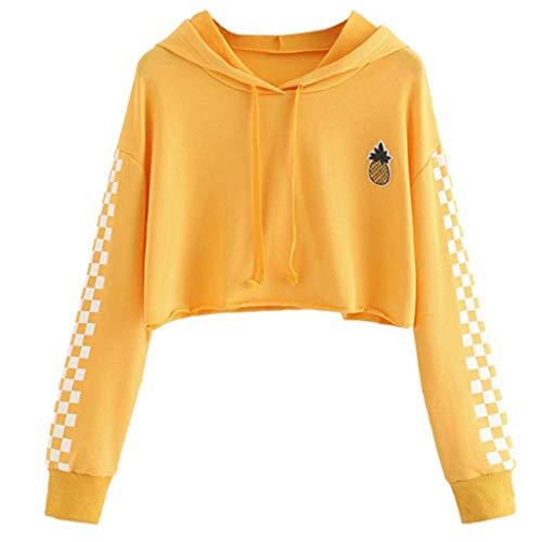 LoXTong Women Hoodies Crop Tops Sweatshirt Pineapple Embroidery Gingham Plaid Hoodies ()