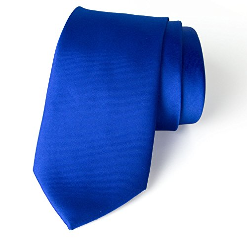 Spring Notion Men's Solid Color Satin Microfiber Tie, Skinny Royal Blue (Blue Skinny Royal Tie)