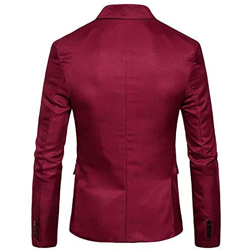 Blazer Loisirs Pour Avec Fit Hommes Rouge Essentiel Mariage Veste Tuxedo Bouton Costume De Slim wBnq8ECgYx