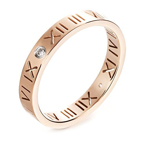 - JSEA Womens Stainless Steel Cz Roman Numeral Rings Bands Openwork Rose Gold (9)