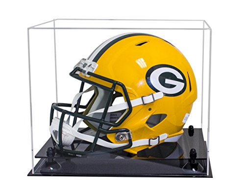 Deluxe Clear Acrylic Football Helmet Display Case with Black Risers (A002-BR) - Double Football Display Case