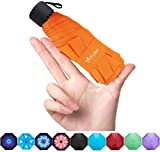 Fidus Upgraded Mini Travel Sun&Rain Windproof Umbrella - Lightweight Compact Portable Parasol Outdoor Umbrellas for Men Women Kids-Orange