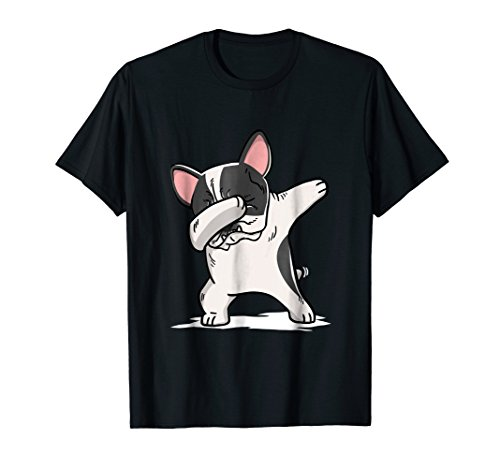 Bulldog Pied French (Mens Pied French Bulldog Dabbing T-Shirt Frenchie Dog Dab Shirt 2XL Black)