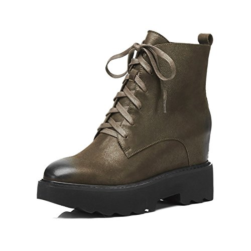 QIN&X La Mujer Chunky Talón Inferior Grueso Corto Botines Zapatos con Plataforma,Verde Militar,