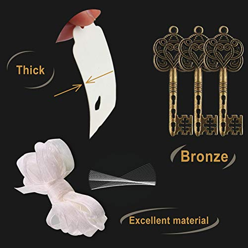 50PCS Vintage Keys Skeleton Key Charms with 50PCS Paper Gift Tags and 10M White Ribbon for Wedding Party Decoration