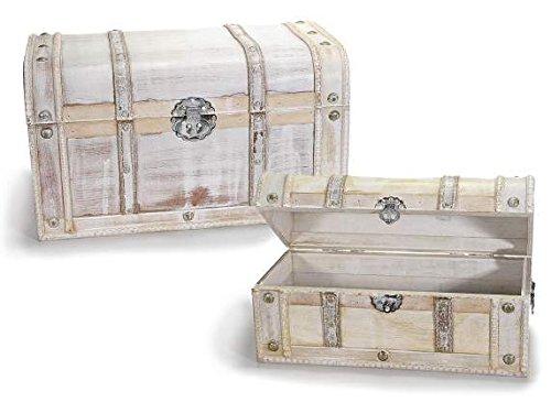 Legno Bianco Vintage : Ideapiu set valigie a baule vintage in legno anticato bianco