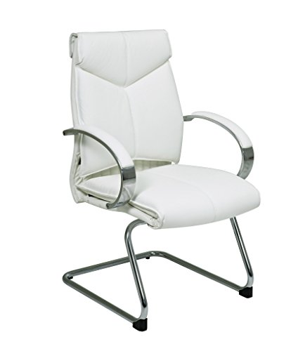 Office Star Deluxe Mid Back White Leather Visitors Chair with Chrome Finish Base and Padded Polished Aluminum Arms