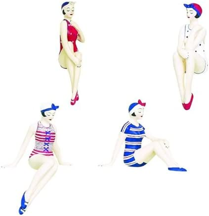 MY SWANKY HOME Retro Bathing Beauty Figurine 4pc Set 1920s Swim Suit Patriotic Americana Red White Blue