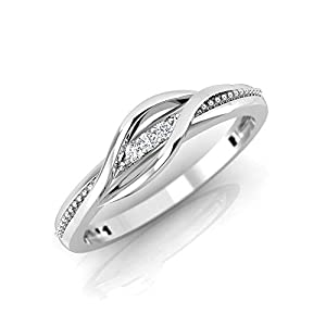 IGI Certified 1/50 Carat Natural Diamond Sterling Silver Casual Ring for Women (K-L Color, I2-I3 Clarity)