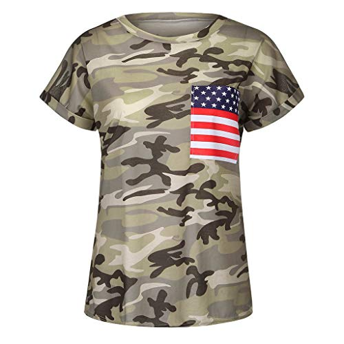 Women Independence Day Camouflage American Flag Print Blouse Top O Neck Short Sleeve Patriotic T Shirt ()