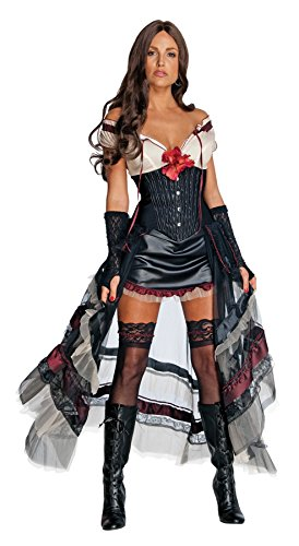 Lilah Jonah Hex Costume (UHC Women's Jonah Hex Lilah Western Saloon Girl Halloween Themed Fancy Costume, M (8-10))