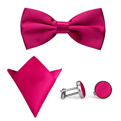 rosa color pajarita uelo con gemelos juego Donovan hombre 3 de de bolsillo P para con Pa de A aRqgwHxT
