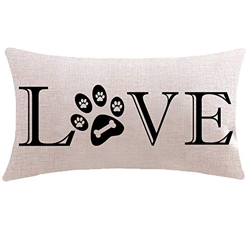 ITFRO Great Pet Dog Lover Gift with Words Love Paw Prints Bone Lumbar Sofa Decorative Beige Cotton Linen Throw Pillow Case Cushion Cover Oblong 12x20