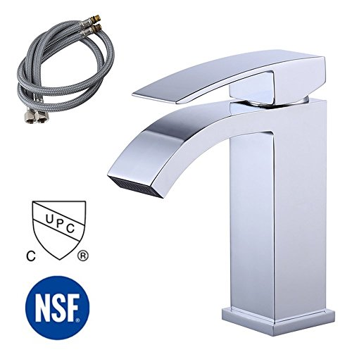 KES cUPC NSF Certified BRASS Single Handle Waterfall Bathroom Vanity Sink Faucet with Extra Large Rectangular Spout, Brushed Nickel, L3109ALF-CH