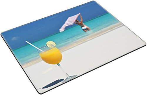 MSD Place Mat Non-Slip Natural Rubber Desk Pads design 19659491 Glass of orange juice on the sandy beach of Exuma Bahamas