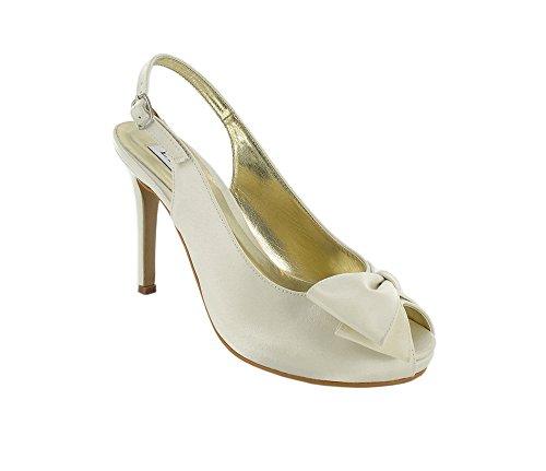 LEXUS - Zapatos destalonados de satén mujer Marfil - Ivory
