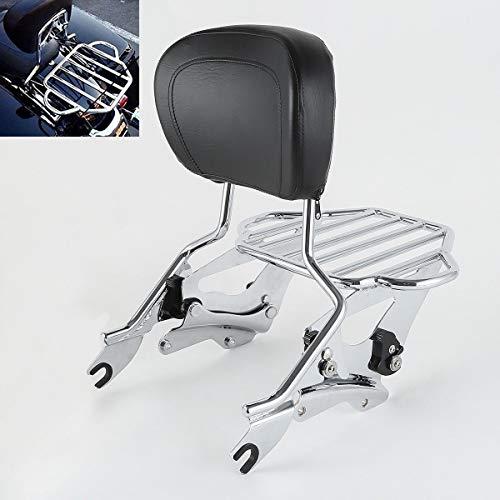 TCMT Detachable Passenger Backrest Sissy Bar With Detachable 2-Up Luggage Rack 4 Point Docking Hardware Kits Fits For Harley Touring 2014-2019 (Chrome, Style C)