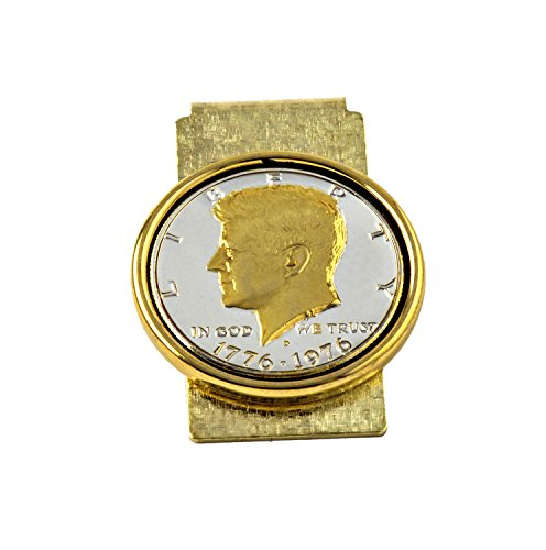 (Kennedy Half-dollar Money Clip Coated with Real Silver & Gold - Made in)