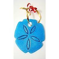 Cornflower Blue Glass Sand Dollar Wall Hanging Ornament