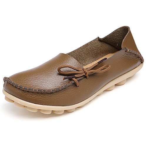 vaganana Women's Leather Loafers Wild Driving Casual Flats Shoes Brown