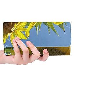 Unique Custom Sunflower Dacha Summer Sky Plant Beauty Village Women Trifold Wallet Long Purse Credit Card Holder Case Handbag