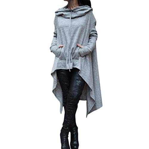 GOVOW Women Cotton Casual Soft Irregular Hem Hood Hooded Ladies Long Pullover Gray -