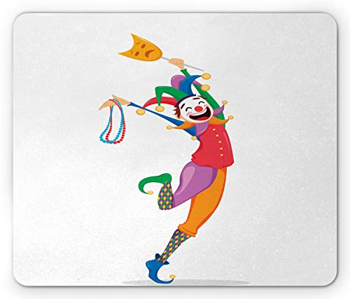 Ambesonne New Orleans Mouse Pad, Mardi Gras Themed Jester Holding Mask and Necklaces Colorful Cartoon Character, Standard Size Rectangle Non-Slip Rubber Mousepad, Multicolor
