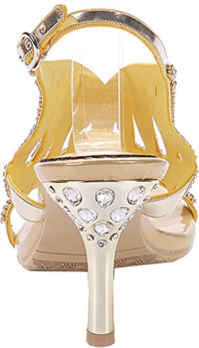Abby GGS-L005-A Womens Wedding Bride Sexy Party Show Work Comfort Wedge Micro-fiber Sandals Gold AYjW5