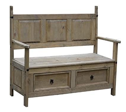 Wondrous Corona Mexican Distressed Waxed Pine Monks Bench Amazon Co Ocoug Best Dining Table And Chair Ideas Images Ocougorg