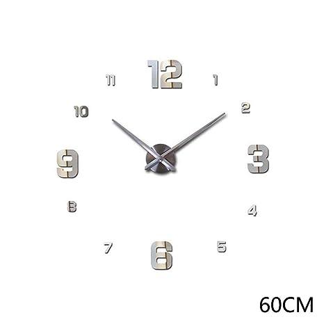 YAGAIU DIY - Reloj de Pared con Adhesivo, Plata, S